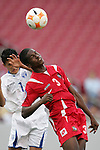 11 March 2008: Reinaldo Anderson (PAN) (3) heads the ball in front of Rigoberto Padilla (HON) (7). The Honduras U-23 Men's National Team defeated the Panama U-23 Men's National Team 1-0 at Raymond James Stadium in Tampa, FL in a Group A game during the 2008 CONCACAF's Men's Olympic Qualifying Tournament.