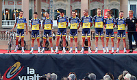 Team Saxo Bank during the official presentation of La Vuelta 2012. Alberto Contador (l), Jesus Hernandez, Rafal Majka, Daniel Navarro, Benjamin Noval, Sergio Miguel Moreira Paulinho, Bruno Pires, Nicki Sorensen and Matteo Tosatto. August 17,2012. (ALTERPHOTOS/Alfaqui/Paola Otero) /NortePhoto.com<br />