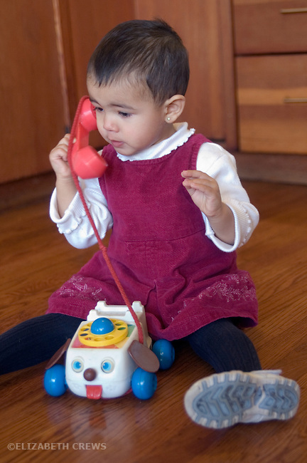 Berkeley CA Nepalese girl, nineteen-months-old in fantasy phone conversation MR