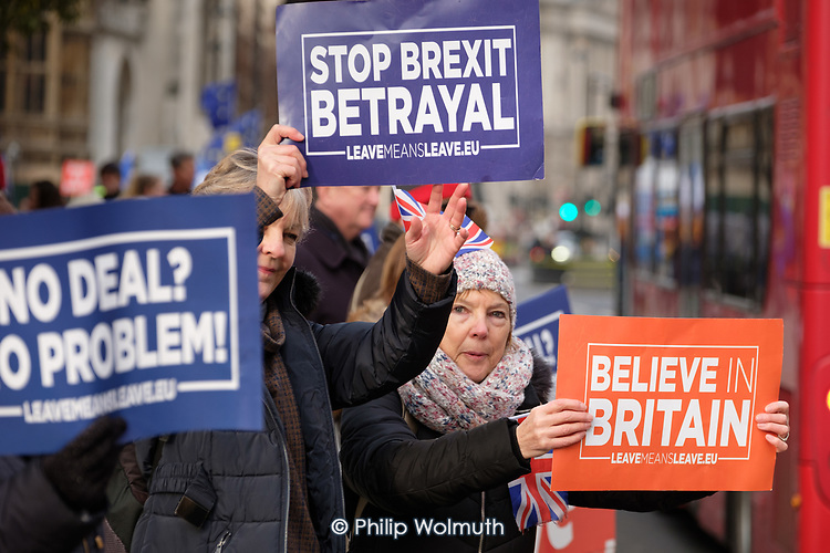 Leave Means Leave.  Pro-Brexit protesters demonstrate outside the Houses of Parliament as MPs start five days of debate on the withdrawal agreement with the EU, Westminster, London.
