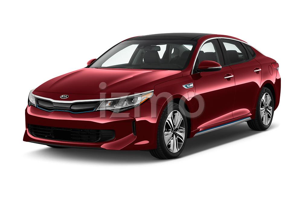 2018 KIA Optima Plug-In Hybrid 4 Door Sedan angular front stock photos of front three quarter view