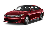 2017 KIA Optima Plug-In Hybrid 4 Door Sedan angular front stock photos of front three quarter view