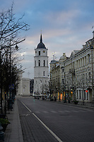 Architecture of Vilnius main street -Gediminas Avenue and Vilnius Cathedral, Lithuania