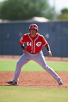 Cincinnati Reds Mauro Conde (64) during an Instructional League game against the Texas Rangers on October 4, 2016 at the Surprise Stadium Complex in Surprise, Arizona.  (Mike Janes/Four Seam Images)