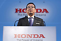 Honda Motor Co. Chief Executive Officer and President Takahiro Hachigo attends a news conference in Tokyo, Japan, February 24, 2016. (Photo by Takeshi Sumikura/AFLO)