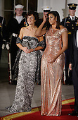 First Lady Michelle Obama and Mrs. Agnese Landini look on at the North Portico  of the White House on October 18, 2016 in Washington, DC. <br /> Credit: Olivier Douliery / Pool via CNP