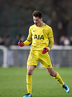 Goalkeeper Jon De Bie of Spurs U18 celebrates his team scoring a goal during the U18 Premier League Cup match between Tottenham Hotspur and Liverpool at Tottenham Training Ground, Hotspur Way, London, England on 10 January 2018. Photo by Andy Rowland / PRiME Media Images