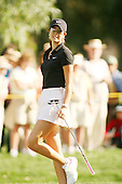 Apr. 1, 2006; Rancho Mirage, CA, USA; Michelle Wie reacts after missing her birdie putt on the 17th hole at the Kraft Nabisco Championship at Mission Hills Country Club. ..Mandatory Photo Credit: Darrell Miho.Copyright © 2006 Darrell Miho .