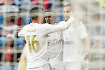 Real Madrid's James Rodriguez, Vinicius Junior and Karim Benzema celebrate goal during La Liga match. September 14,2019. (ALTERPHOTOS/Acero)