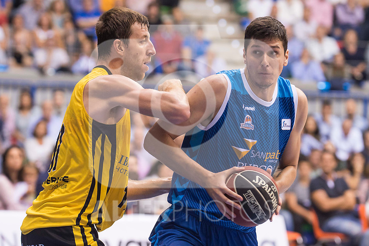 San Pablo Burgos's Goran Huskic and Iberostar Tenerife's Fran Vazquez during Liga Endesa match between San Pablo Burgos and Iberostar Tenerife at Coliseum Burgos in Burgos, Spain October 01, 2017. (ALTERPHOTOS/Borja B.Hojas)