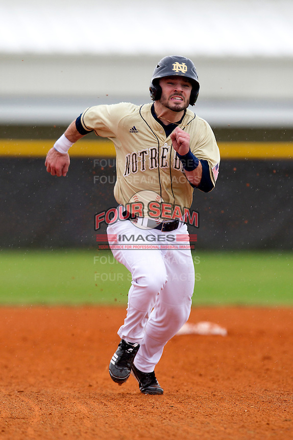 Notre Dame Fighting Irish second baseman Frank DeSico #35 running the bases during a game against the Illinois Fighting Illini at the Big Ten/Big East Challenge at Walter Fuller Complex on February 17, 2012 in St. Petersburg, Florida.  (Mike Janes/Four Seam Images)