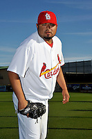 Mar 01, 2010; Jupiter, FL, USA; St. Louis Cardinals pitcher Dennys Reyes (36) during  photoday at Roger Dean Stadium. Mandatory Credit: Tomasso De Rosa/ Four Seam Images