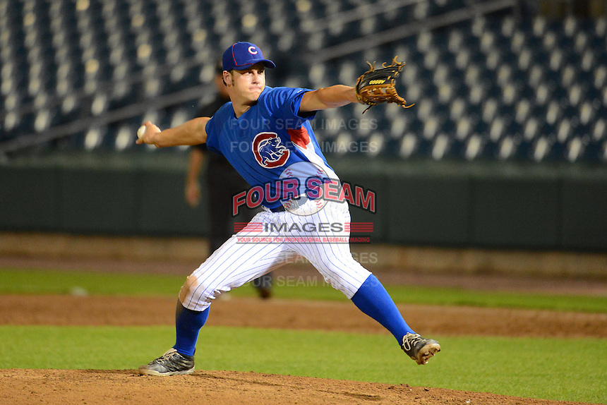 Zack Shannon (32) of Anderson High School in Cincinnati, Ohio playing for the Chicago Cubs scout team during the East Coast Pro Showcase on July 31, 2013 at NBT Bank Stadium in Syracuse, New York.  (Mike Janes/Four Seam Images)