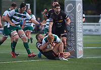 Jack Tovey of Ealing Trailfinders scores a try during the RFU Championship Cup match between Ealing Trailfinders and Ampthill RUFC at Castle Bar , West Ealing , England  on 28 September 2019. Photo by Alan  Stanford / PRiME Media Images