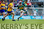 Jack Griffin Kerry in action against Ross O'Doherty Clare in the Munster Minor Football Final at Fitzgerald Stadium on Sunday.