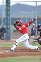 Raul Wallace (47) of the AZL Reds bats during a game against the AZL Brewers at Cincinnati Reds Spring Training Complex on July 5, 2015 in Goodyear, Arizona. Reds defeated the Brewers, 9-4. (Larry Goren/Four Seam Images)