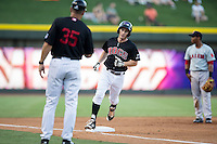 Toby Thomas (4) of the Winston-Salem Dash rounds third base after hitting a solo home run against the Salem Red Sox at BB&T Ballpark on June 16, 2016 in Winston-Salem, North Carolina.  The Dash defeated the Red Sox 7-1.  (Brian Westerholt/Four Seam Images)