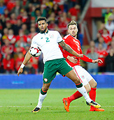 9th October 2017, Cardiff City Stadium, Cardiff, Wales; FIFA World Cup Qualification, Wales versus Republic of Ireland; Cyrus Christie (Republic of Ireland) gets to the ball ahead of Aaron Ramsey (Wales)