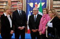 Roberta Pinotti, Bruno La Maire, Pier Carlo Padoan e Florence Parly<br /> Roma 01/02/2018. Incontro di lavoro sul progetto di cooperazione industriale nel settore navale militare (Fincantieri Naval Group).<br /> Rome February1st 2018. Meeting on the project of cooperation between Italy and France in the naval- military sector (Fincantieri and Naval Group).<br /> Foto Samantha Zucchi Insidefoto