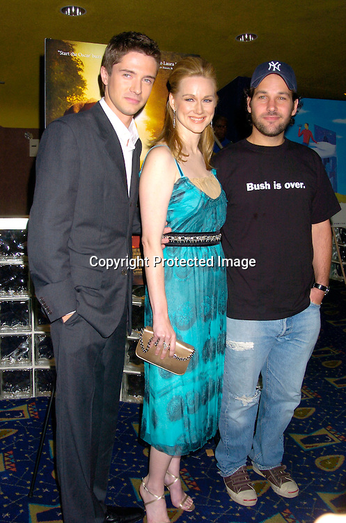 """Laura LInney, Topher Grace and Paul Rudd ..at the New York Premiere of """"ps"""" on October 12, 2004 ..at the Clearview Chelsea West. ..Photo by Robin Platzer, Twin Images"""