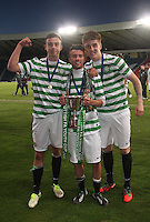(left to right) Eoghan O'Connel, Paul George and Patrick McNally after winning  the Dunfermline Athletic v Celtic Scottish Football Association Youth Cup Final match played at Hampden Park, Glasgow on 1.5.13. ..