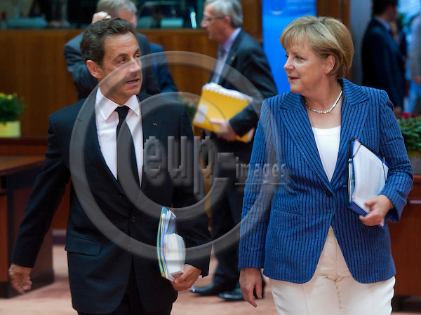 Brussels-Belgium - June 23, 2011 -- European Council, EU-summit under Hungarian Presidency; here, Angela MERKEL (ri), Federal Chancellor of Germany, with Nicolas SARKOZY (le), President of France -- Photo: Horst Wagner / eup-images