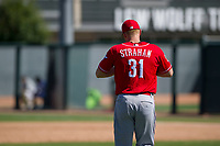 Cincinnati Reds pitcher Wyatt Strahan (31) walks to the mound between innings during an Instructional League game against the Oakland Athletics on September 29, 2017 at Lew Wolff Training Complex in Mesa, Arizona. (Zachary Lucy/Four Seam Images)