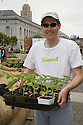 "Sunset Magazine had a crew of volunteers at Community Planting Day (July 12, 2008) of the Slow Food Nation Victory Garden at San Francisco's Civic Center. The garden project ""demonstrates the potential of a truly local agriculture practice that unites and promotes Bay Area urban gardening organizations, while producing high quality food for those in need.""* The garden is planted on the same site as the post-World War II garden sixty years ago. The food will be grown over a period of two months, harvested, and donated to people in need..*slowfoodnation.org"