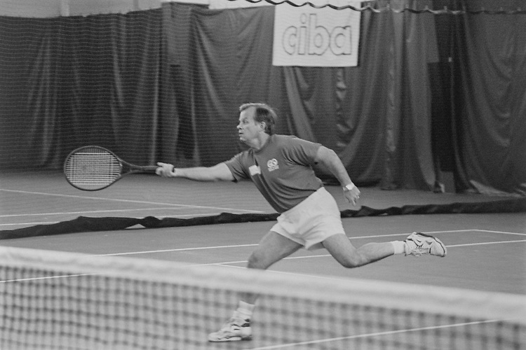 Rep. Tony P. Hall, D-Ohio, going for the ball at NCOA tennis tournament on July 19, 1993. (Photo by Laura Patterson/CQ Roll Call via Getty Images)