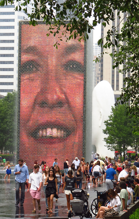 The Crown Fountain located on Michigan Ave, Chicago. (DePaul University/Jamie Moncrief)