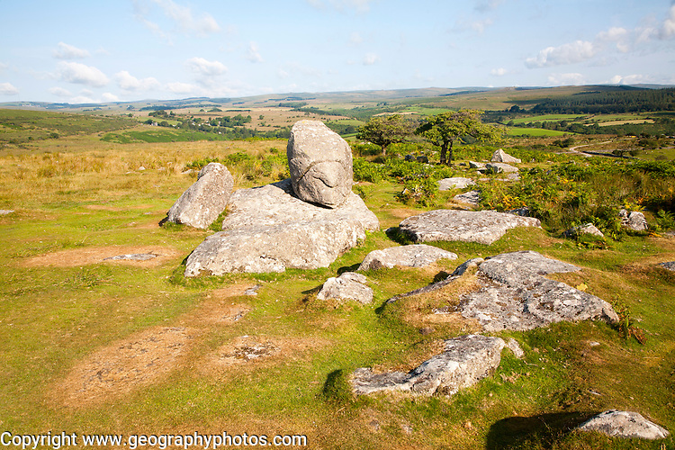 Granite upland landscape at Combestone Tor, near Hexworthy, Dartmoor national park, Devon, England