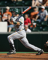 Baylor 2B Raynor Campbell follows through against Texas on May 3rd, 2008. Photo by Andrew Woolley / Four Seam Images