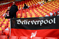 General View of a Liverpool fan's 'Believerpool' flag<br /> <br /> Photographer Richard Martin-Roberts/CameraSport<br /> <br /> The Premier League - Liverpool v Chelsea - Sunday 14th April 2019 - Anfield - Liverpool<br /> <br /> World Copyright © 2019 CameraSport. All rights reserved. 43 Linden Ave. Countesthorpe. Leicester. England. LE8 5PG - Tel: +44 (0) 116 277 4147 - admin@camerasport.com - www.camerasport.com