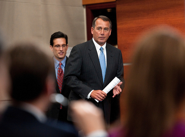 WASHINGTON, DC- Jan. 06: House Majority Leader Eric Cantor, R-Va., and House Speaker John A. Boehner, R-Ohio, arrive for a news conference on their first full day of the 112th Congress. (Photo by Scott J. Ferrell/Congressional Quarterly)