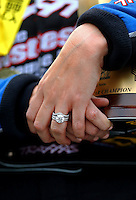 May 1, 2016; Baytown, TX, USA; Detailed view of the wedding ring of NHRA funny car driver Courtney Force during the Spring Nationals at Royal Purple Raceway. Mandatory Credit: Mark J. Rebilas-USA TODAY Sports