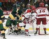 Alex Boak (Clarkson - 5), Petr Placek (Harvard - 27), Tommy O'Regan (Harvard - 13) - The Harvard University Crimson defeated the visiting Clarkson University Golden Knights 3-2 on Harvard's senior night on Saturday, February 25, 2012, at Bright Hockey Center in Cambridge, Massachusetts.