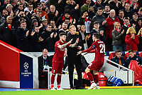 Liverpool's Alberto Moreno replaces Liverpool's Adam Lallana<br /> <br /> Photographer Richard Martin-Roberts/CameraSport<br /> <br /> UEFA Champions League Group C - Liverpool v Crvena Zvezda - Wednesday 24th October 2018 - Anfield - Liverpool<br />  <br /> World Copyright © 2018 CameraSport. All rights reserved. 43 Linden Ave. Countesthorpe. Leicester. England. LE8 5PG - Tel: +44 (0) 116 277 4147 - admin@camerasport.com - www.camerasport.com