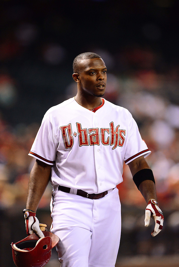 Aug. 28, 2012; Phoenix, AZ, USA: Arizona Diamondbacks outfielder Justin Upton against the Cincinnati Reds at Chase Field. Mandatory Credit: Mark J. Rebilas-