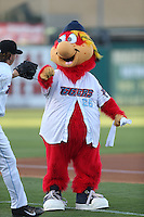 Inland Empire 66ers mascot Bernie during a game against the Modesto Nuts at San Manuel Stadium on May 28, 2014 in San Bernardino, California. Modesto defeated Inland Empire, 3-2. (Larry Goren/Four Seam Images)