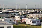 Caravan park next to the Npower Renewables wind farm at Little Cheyne Court,  Camber, Kent.