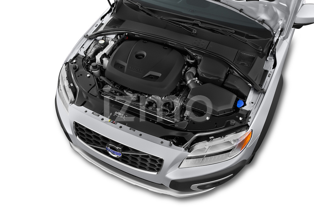 Car stock 2015 Volvo XC70 T5 5 Door Wagon engine high angle detail view