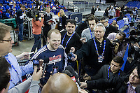 16.01.2013 London, England. Detroit Pistons head coach Lawrence Frank talks to the media during team practice ahead of the NBA London Live 2013 game between the Detroit Pistons and the New York Knicks from The O2 Arena
