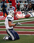 06FTB at Utah.BYU at University of Utah.November 25, 2006..BYU-33  Utah-31..13 Jonny Harline the catch..Photography by Mark A. Philbrick..Copyright BYU Photo 2006 .All Rights Reserved .photo@byu.edu  (801)422-7322.