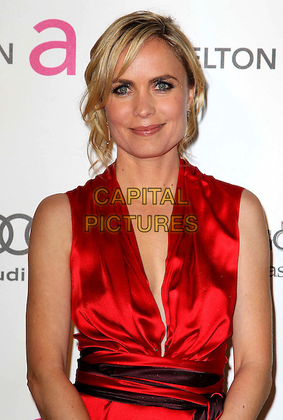Radha Mitchell.21st Annual Elton John Academy Awards Viewing Party held at West Hollywood Park, West Hollywood, California, USA..February 24th, 2013.oscars half length red silk satin sleeveless waistband.CAP/ADM/KB.©Kevan Brooks/AdMedia/Capital Pictures.