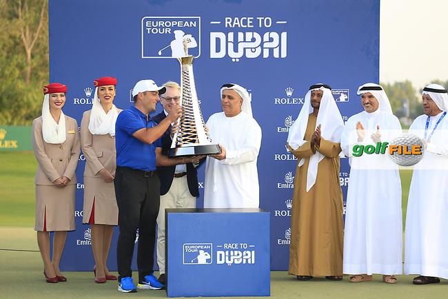 Francesco Molinari (ITA) winner of the Race to Dubai at the season ending DP World Tour Championship, Jumeirah Golf Estates, Dubai, United Arab Emirates. 18/11/2018<br /> Picture: Golffile | Fran Caffrey<br /> <br /> <br /> All photo usage must carry mandatory copyright credit (&copy; Golffile | Fran Caffrey)