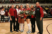 18 November 2005: Courtney Schultz and Katie Goldhahn during Stanford's 3-2 win over California in the Big Spike at Maples Pavilion in Stanford, CA.