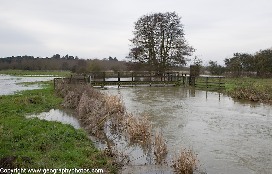 Flooding on the River Deben at Naunton Hall weir, Rendlesham, Suffolk, England in late December 2012.