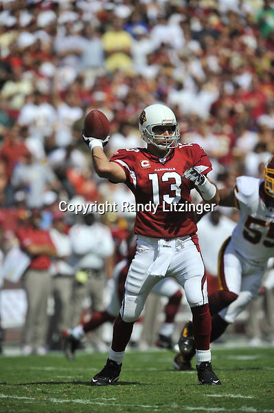 21 September 2008:  Cardinals QB Kurt Warner (13)..The Washington Redskins defeated the Arizona Cardinals 24-17 at FedEx Field in Landover, MD.