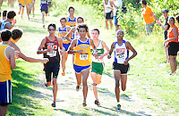 Ryan Namath, Wilson Hacker, Jonah Weisse and Eric Brown Ii (L to R) lead boys varsity during the West Invitational cross country tournament on Thursday, 9/6/12, at The Yahara Hills Cross Country Course in Madison, Wisconsin