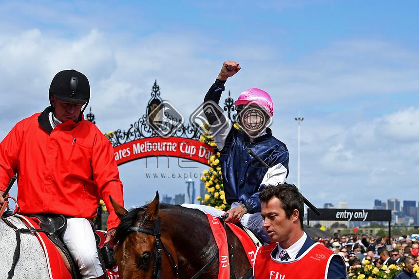 Jockey Corey Brown wins the Melbourne Cup on Rekindling (GB)<br /> 2017 Melbourne Cup horse racing, <br /> Flemington Racecourse, Melbourne, Australia. <br /> Tuesday 7 November 2017. <br /> &copy; Sport the library / Jeff Crow